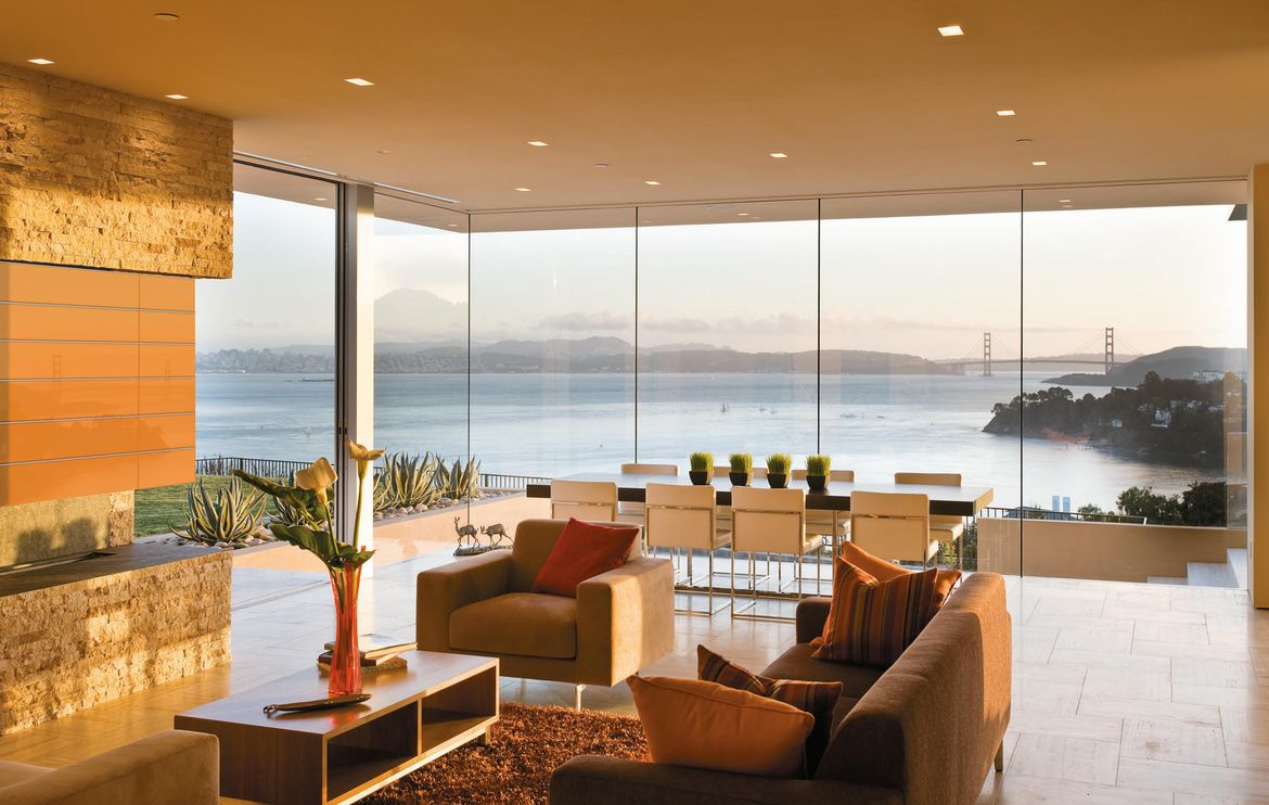 Glass house with views in Marin County, California