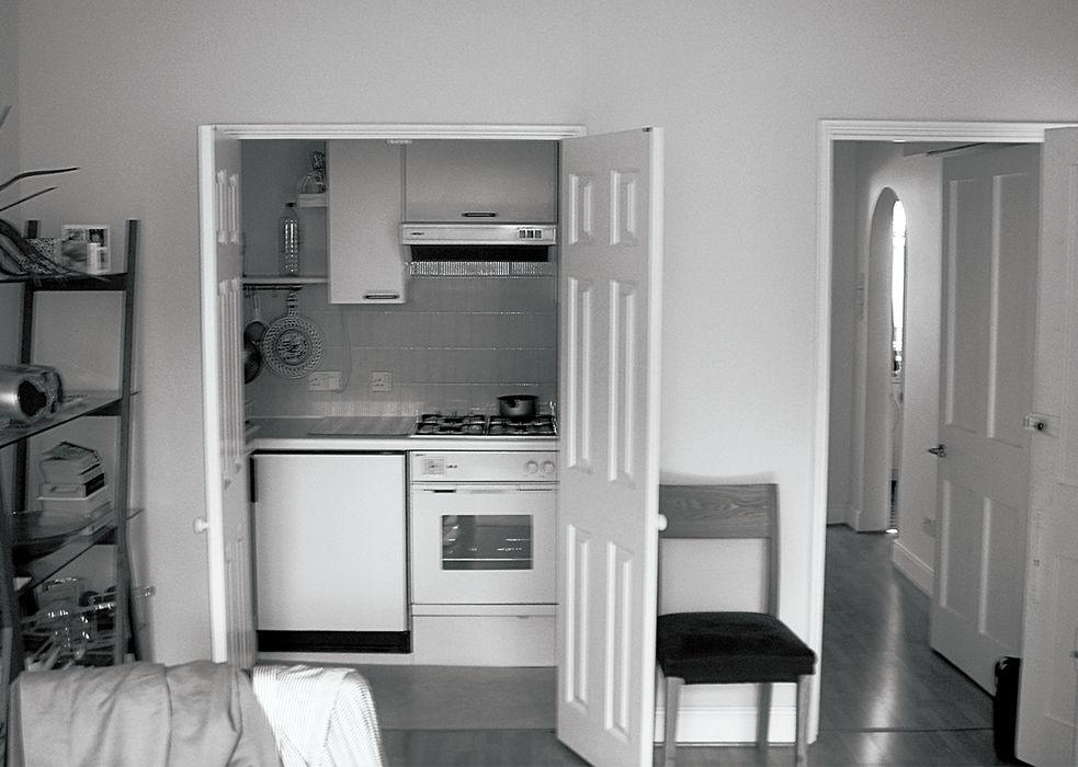 Tiny London apartment renovated kitchen before photo