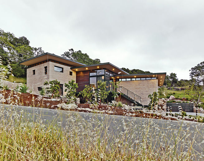 Rammed-earth home facade