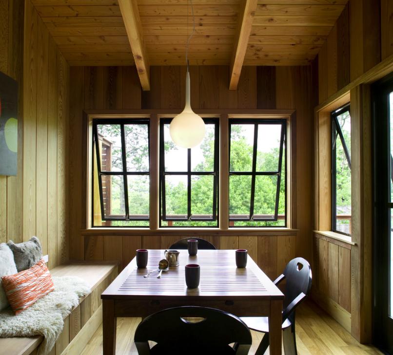 Dining nook clad in Western cedar