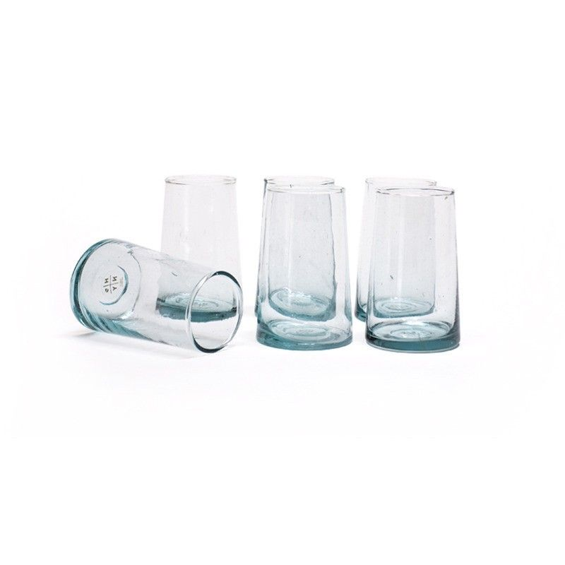 Conical recycled glasses with blue tint