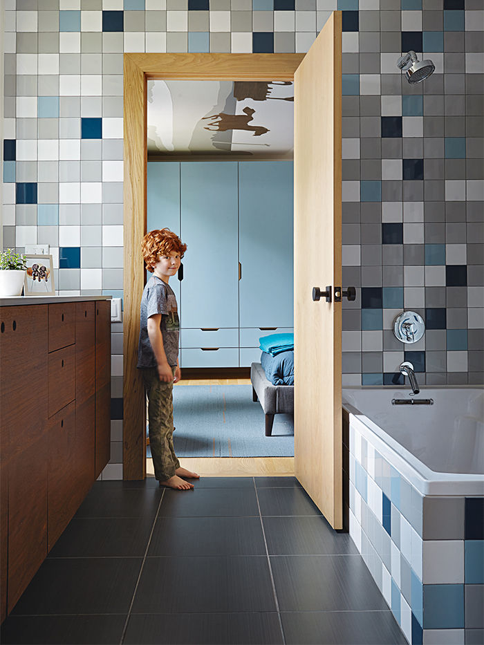 Kansas City bathroom with blue and gray tiles from Daltile