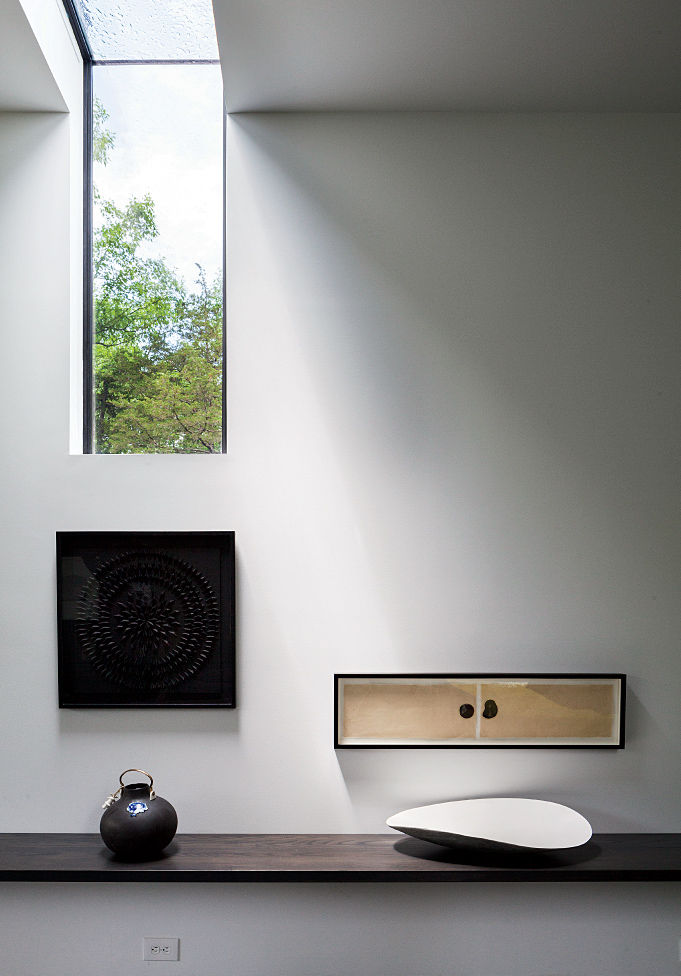 Upstate New York small sustainable retreat for Chilewich and Sultan hallway maple shelf