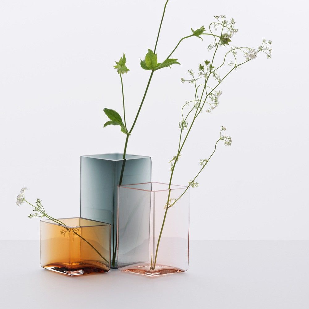 hand-blown color-dyed diamond glass vases