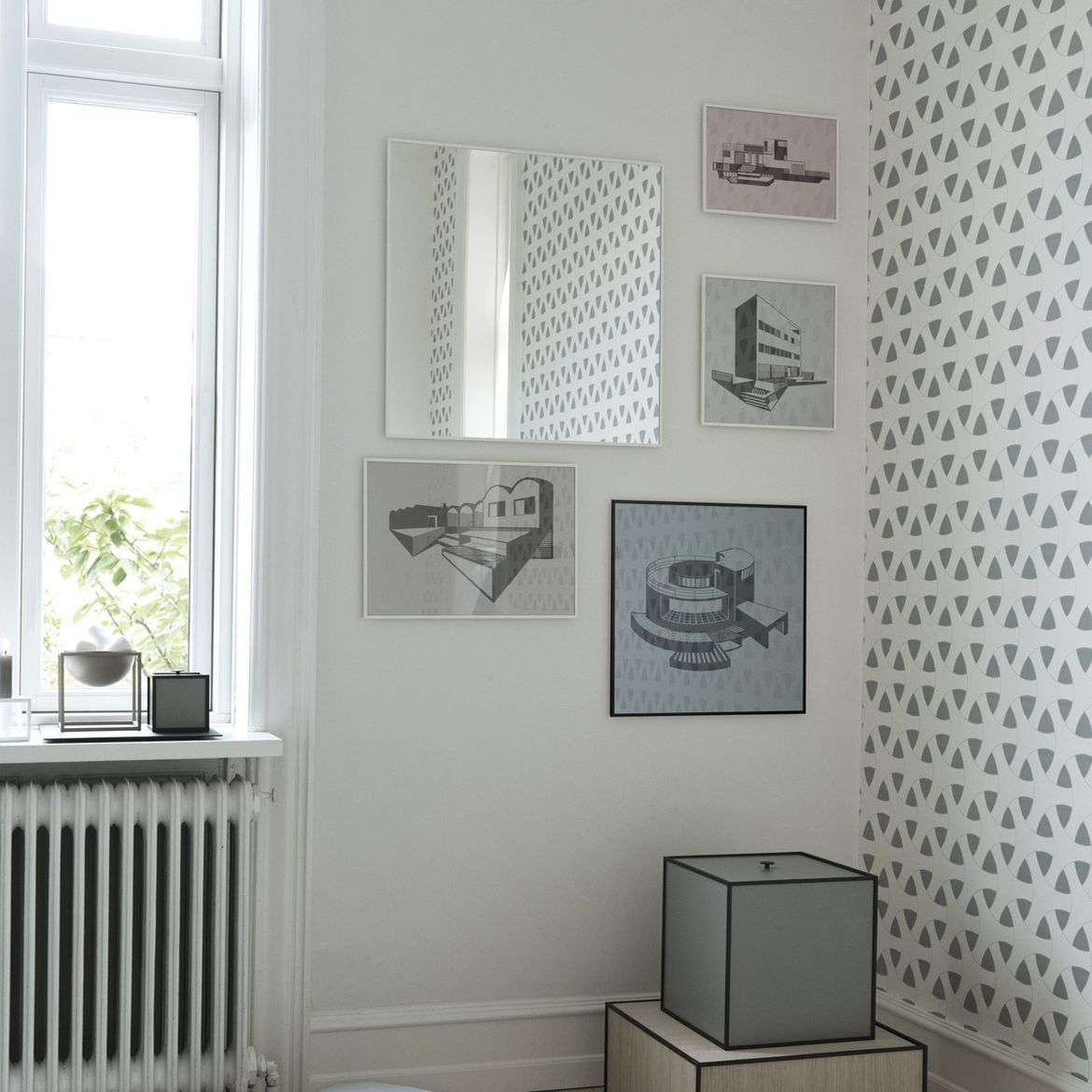 Minimalist frames featuring architectural prints