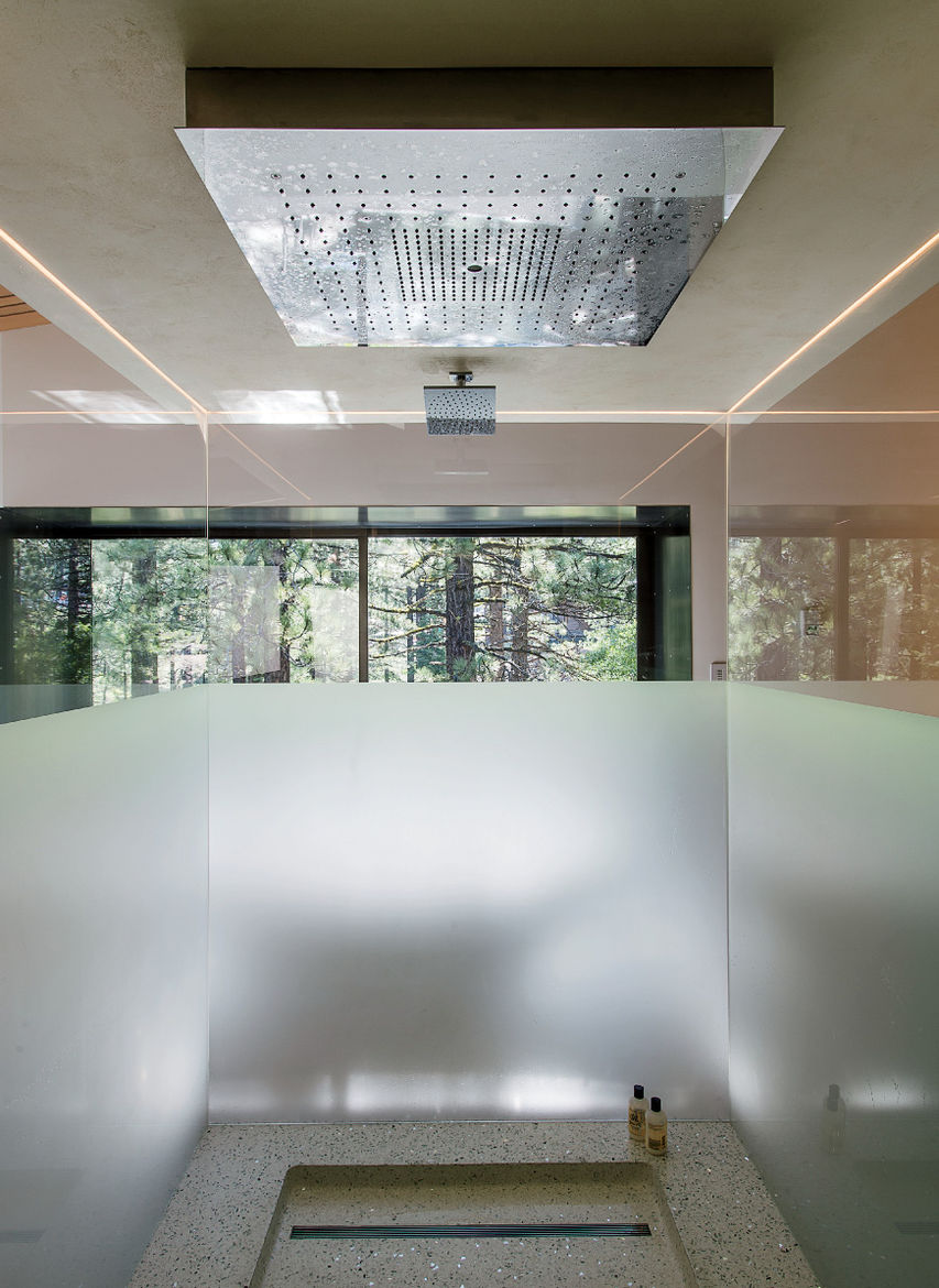 Bancroft residence bathroom rain shower with frosted glass