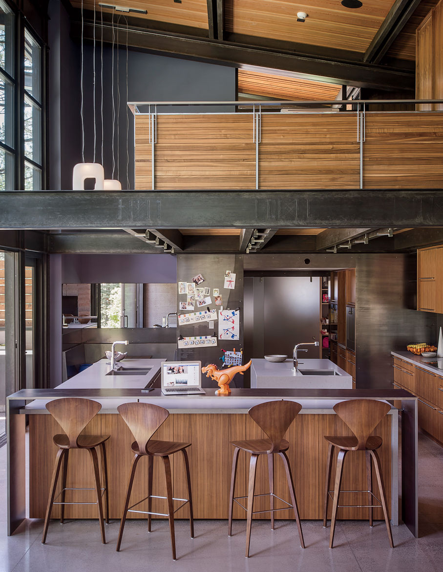 Bancroft residence kitchen island with Norman Cherner barstools.