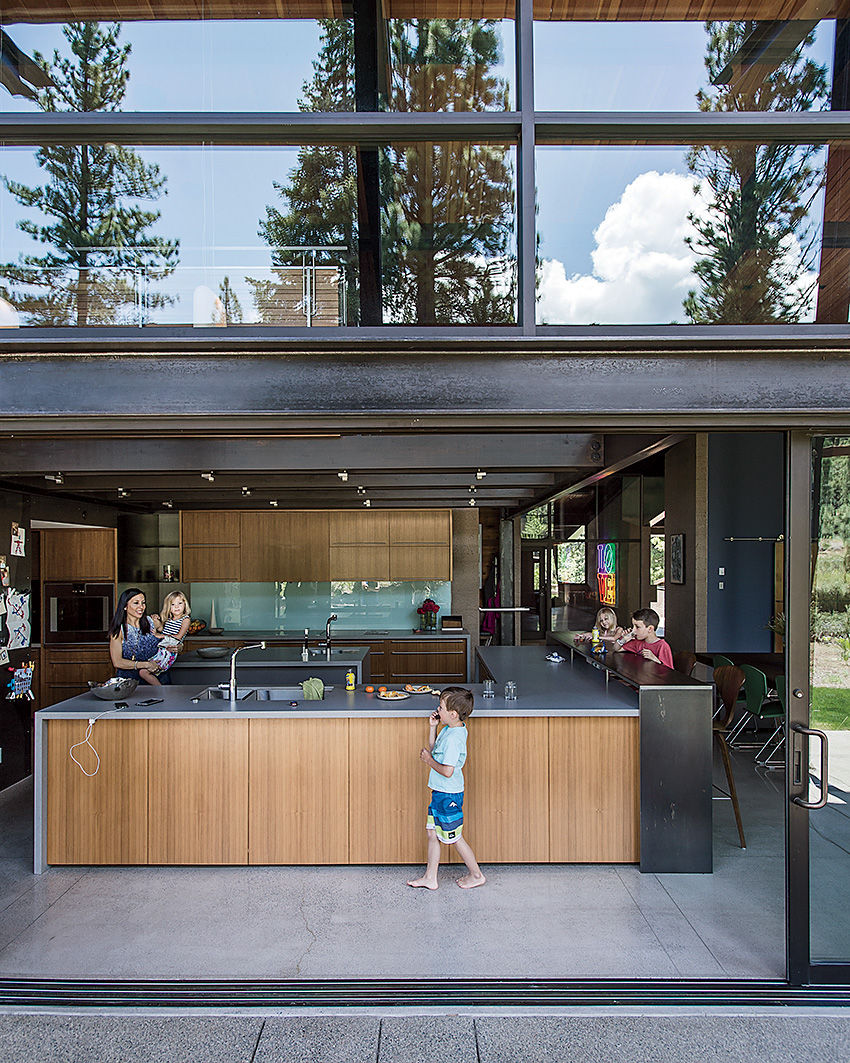 Bancroft residence open kitchen with sliding doors.