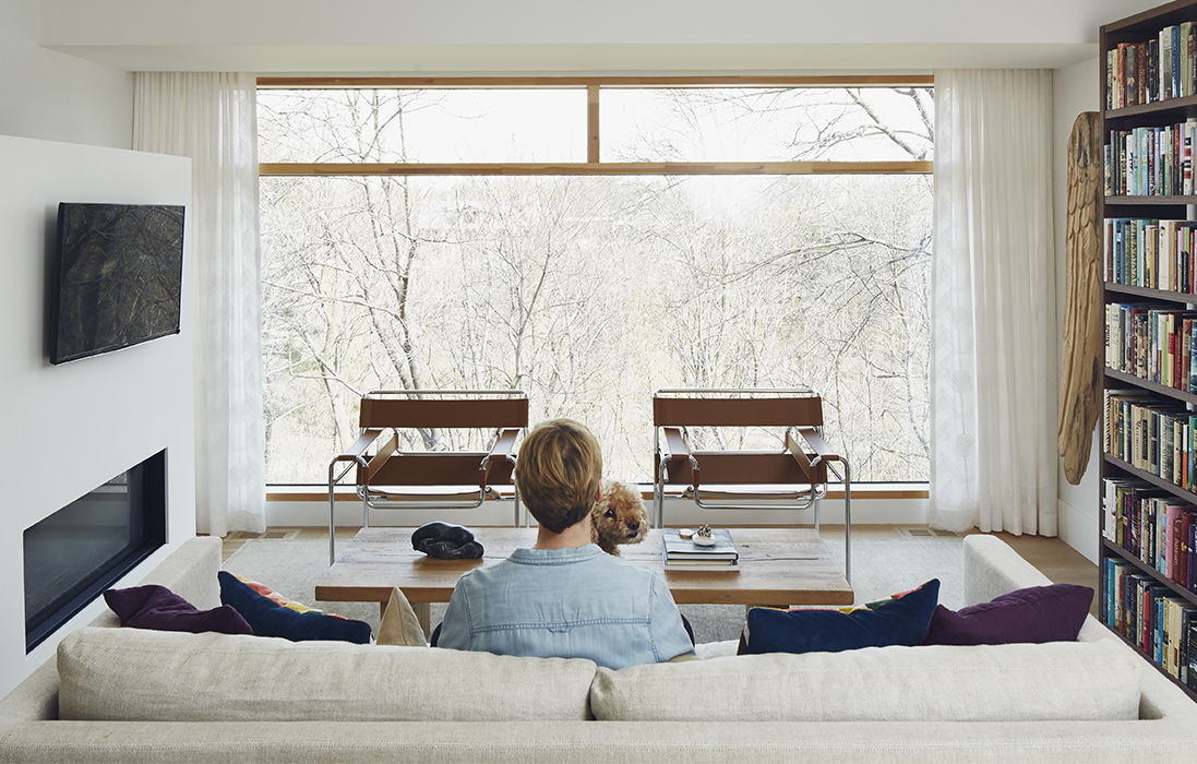Modern library with Marcel Breuer's Wassily chars for Knoll