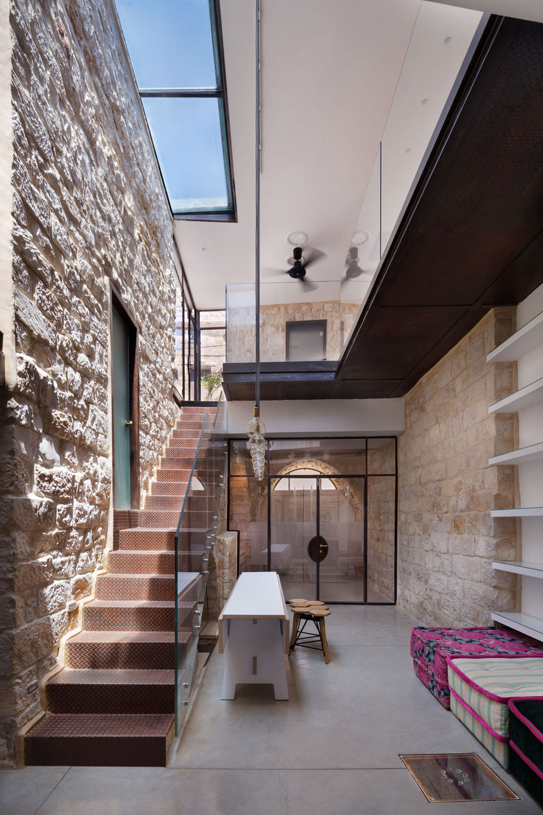 Interior courtyard in a renovated home in northern Israel