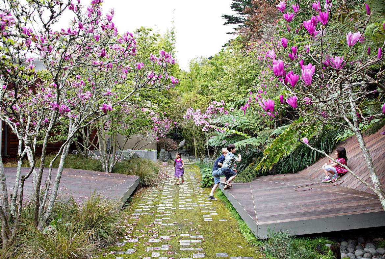 A California garden home's slate pavers.