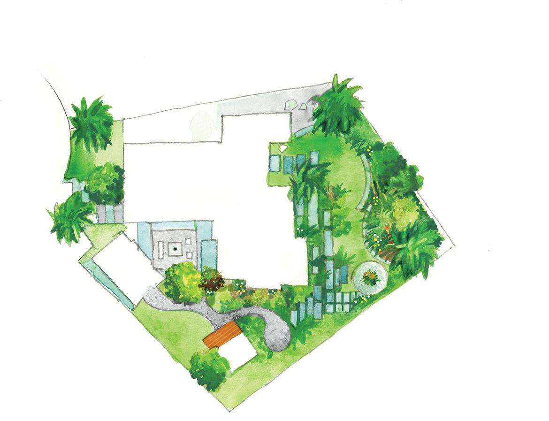 modern outdoor garden patio backyard site plan