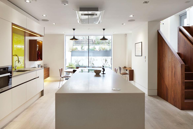 Modern kitchen in London with white oak floors
