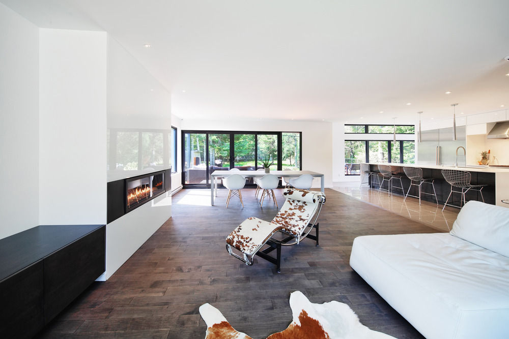 Open-plan living space with a sleek fireplace