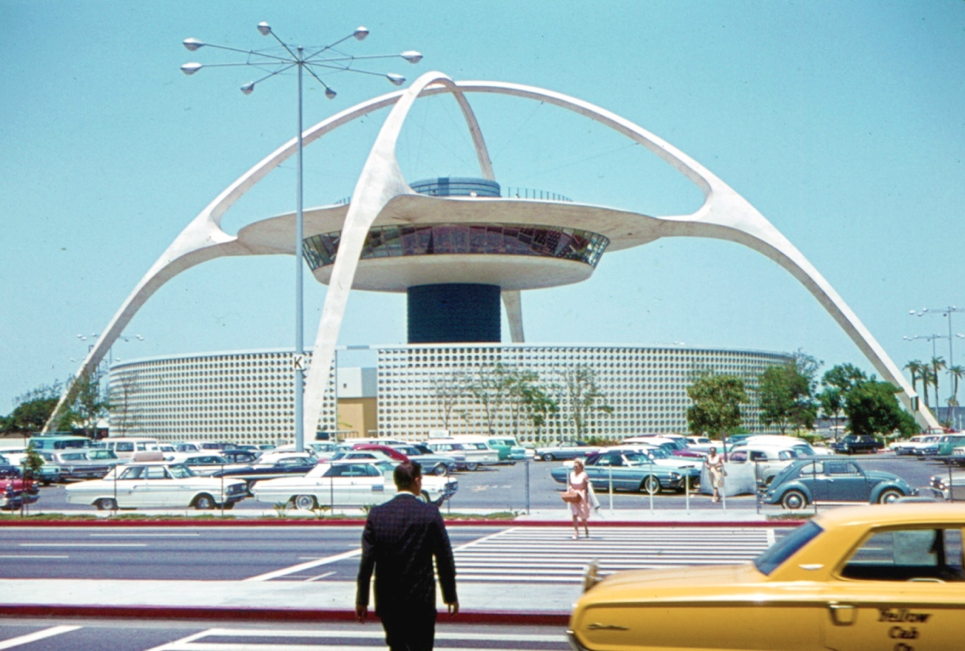 """LAX, 1964, Kodachrome image from the Charles Phoenix """"Slibrary"""" Collection."""
