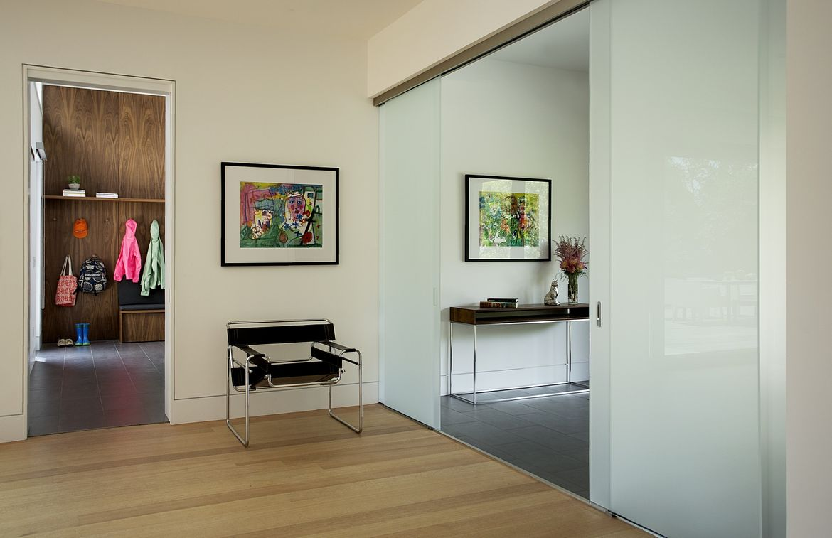 Modern entryway with a Marcel Breuer chair