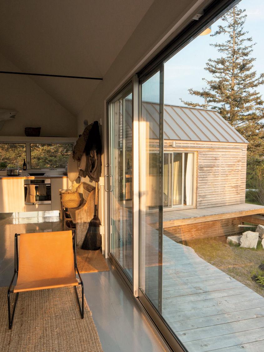 Vinalhaven cabins sliding glass door and deck