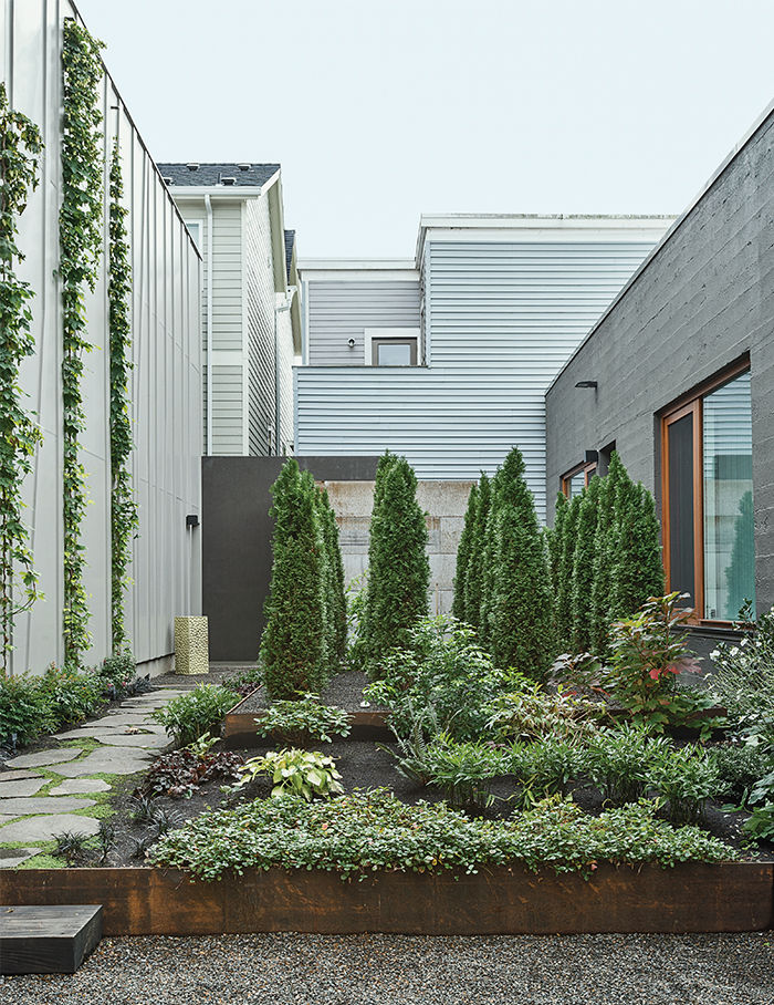 Portland renovated warehouse garden.