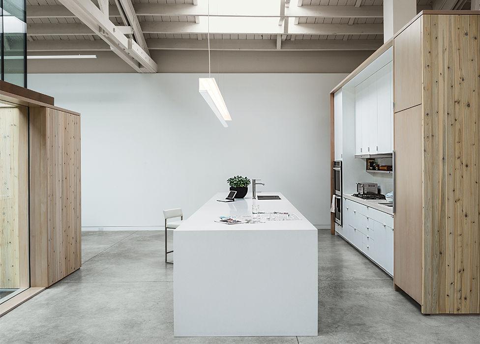 Portland renovated warehouse kitchen Caesarstone Douglas fir cabinets