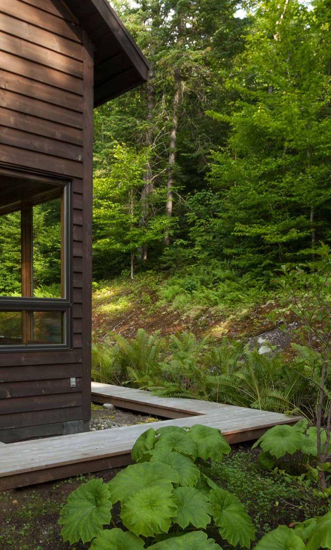 Quebec cabin wood walkway.