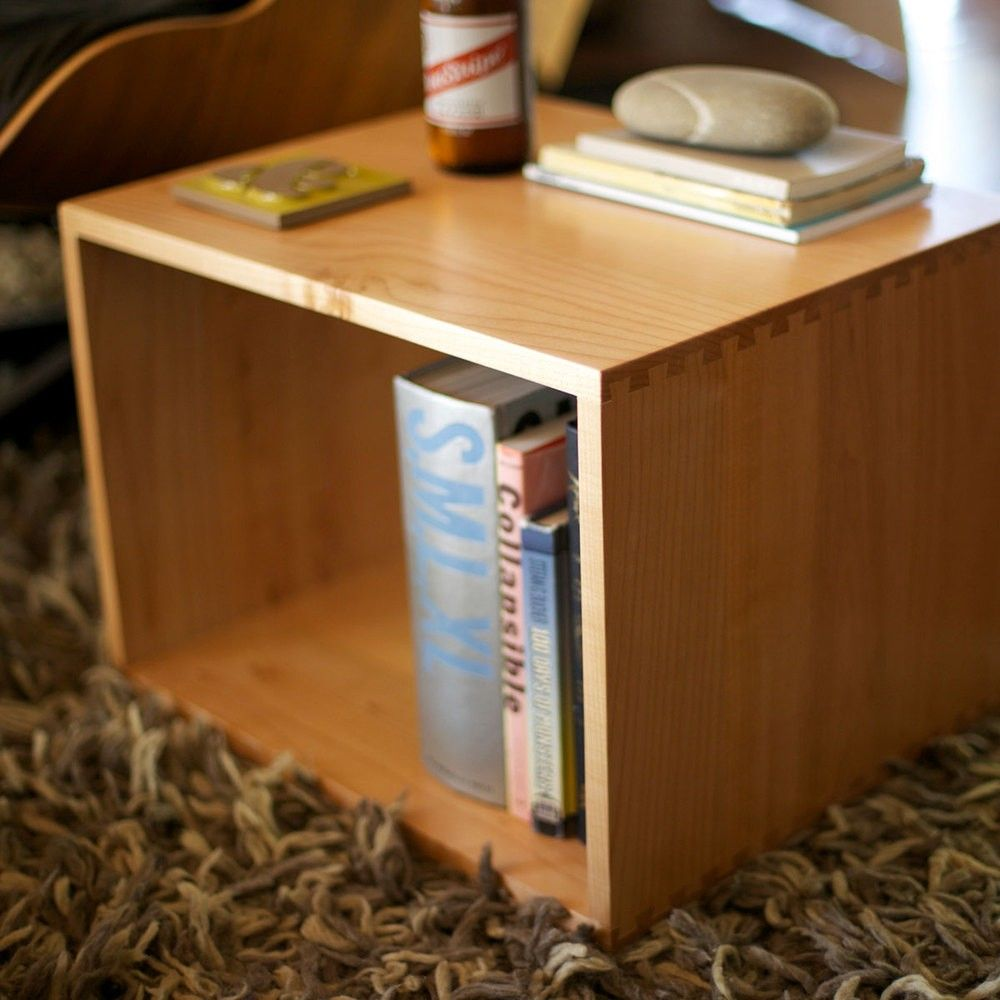 Side table designed like simple wood box