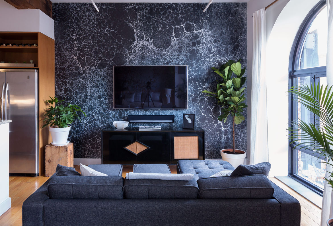 Modern Red Hook Brooklyn Apartment with Calico Wallpaper Lunaris midnight credenza and sonos playbar