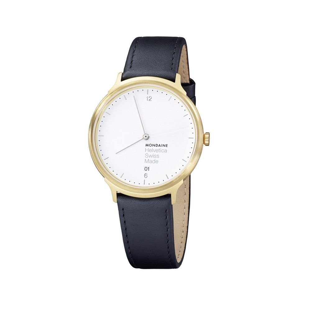 Minimalist wristwatch with black leather band