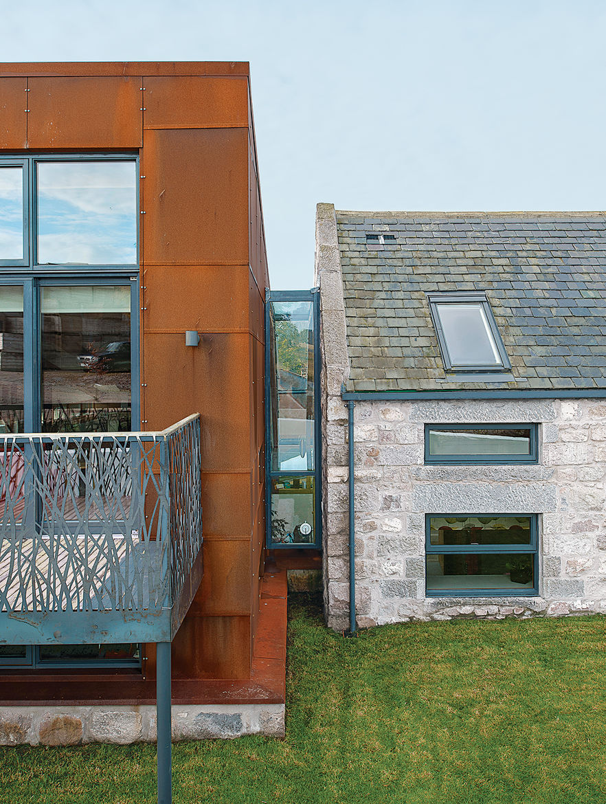 modern renovation addition solar powered scotland glass bridge steel