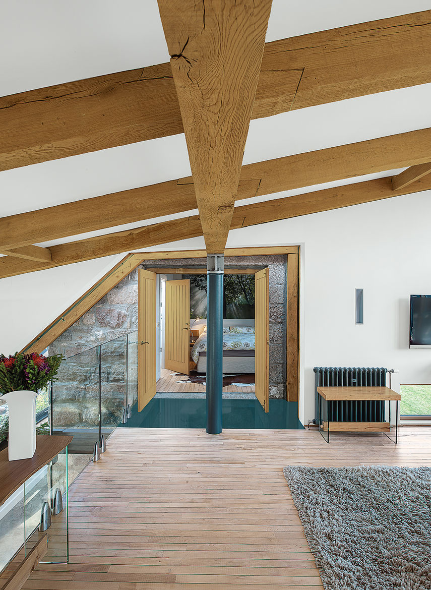 modern renovation addition solar powered scotland reclaimed oak beams lounge