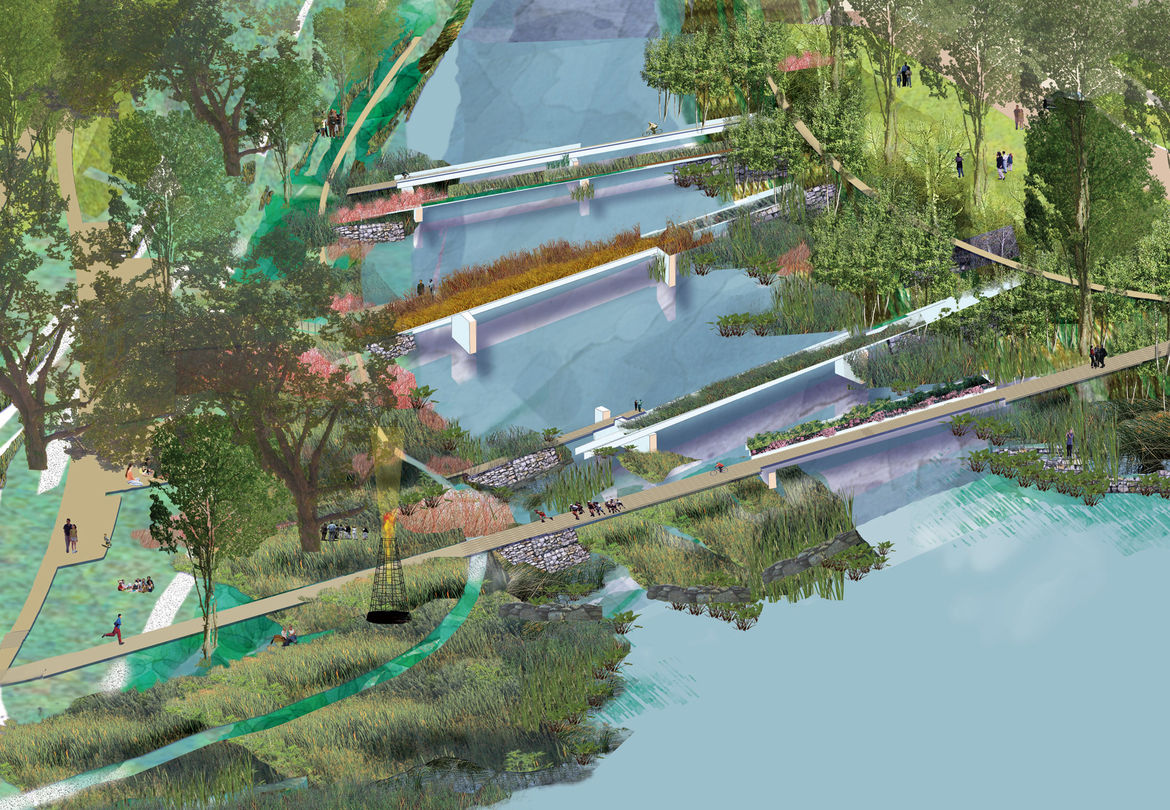 This unrealized plan reimagined the city's downtown and included a large green area next to the capitol building and paths to bring people to the Delaware River