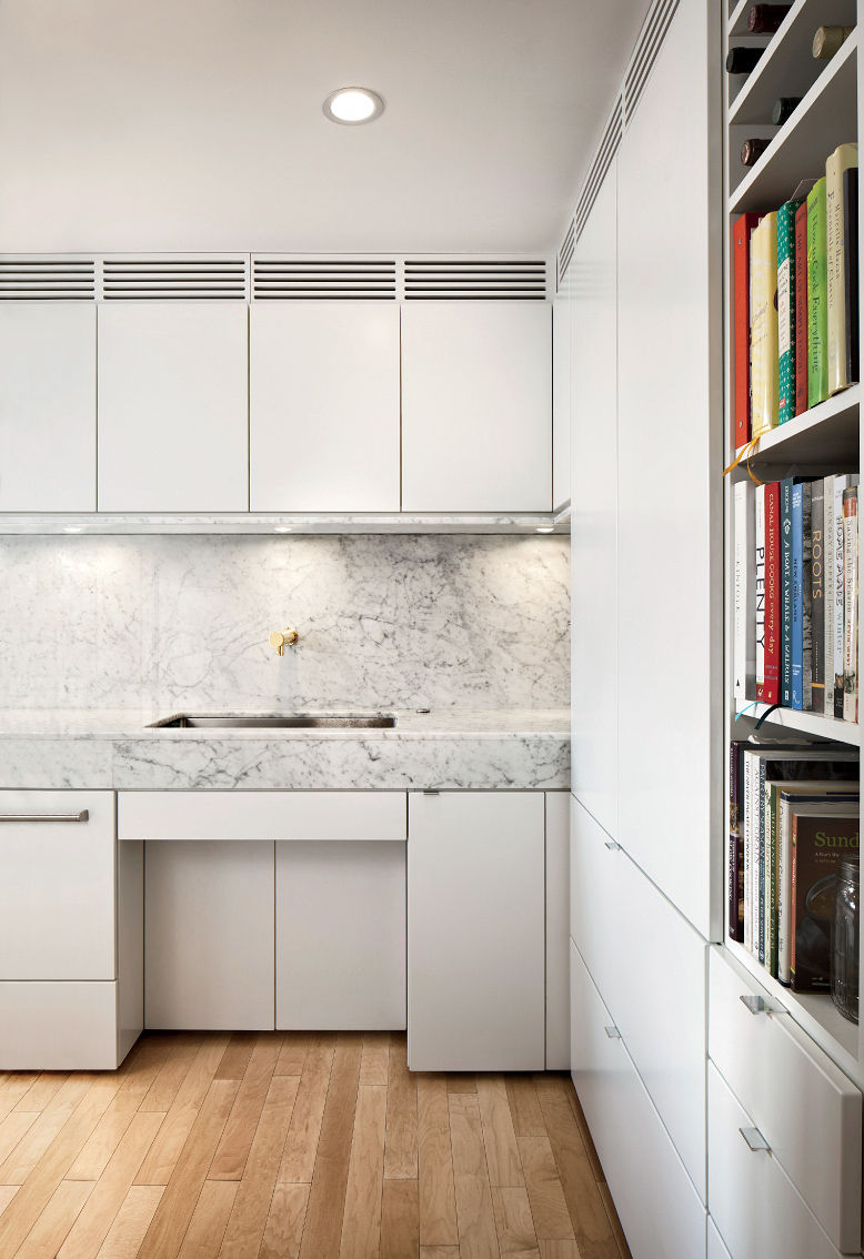 Mondern Boston family kitchen renovation that's wheelchair accessible with marble sink