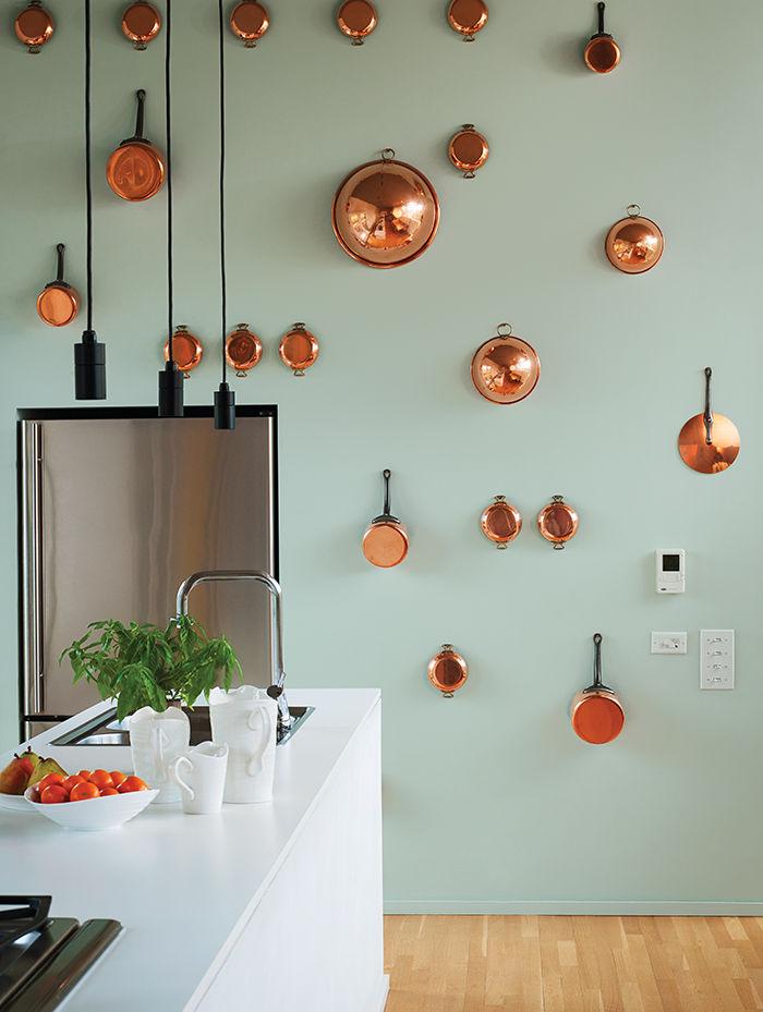 modern vanguard way  kitchen copper pots refrigerator