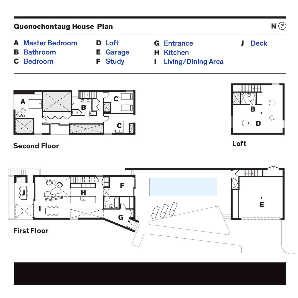 Plan of Rhode Island family vacation home by Bernheimer Architecture.