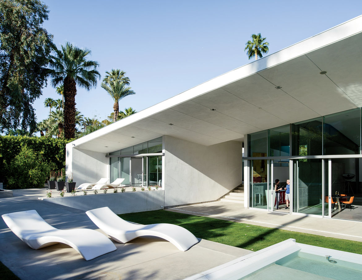 Desert Canopy House lap pool with Cloe chaise longues from Myyour