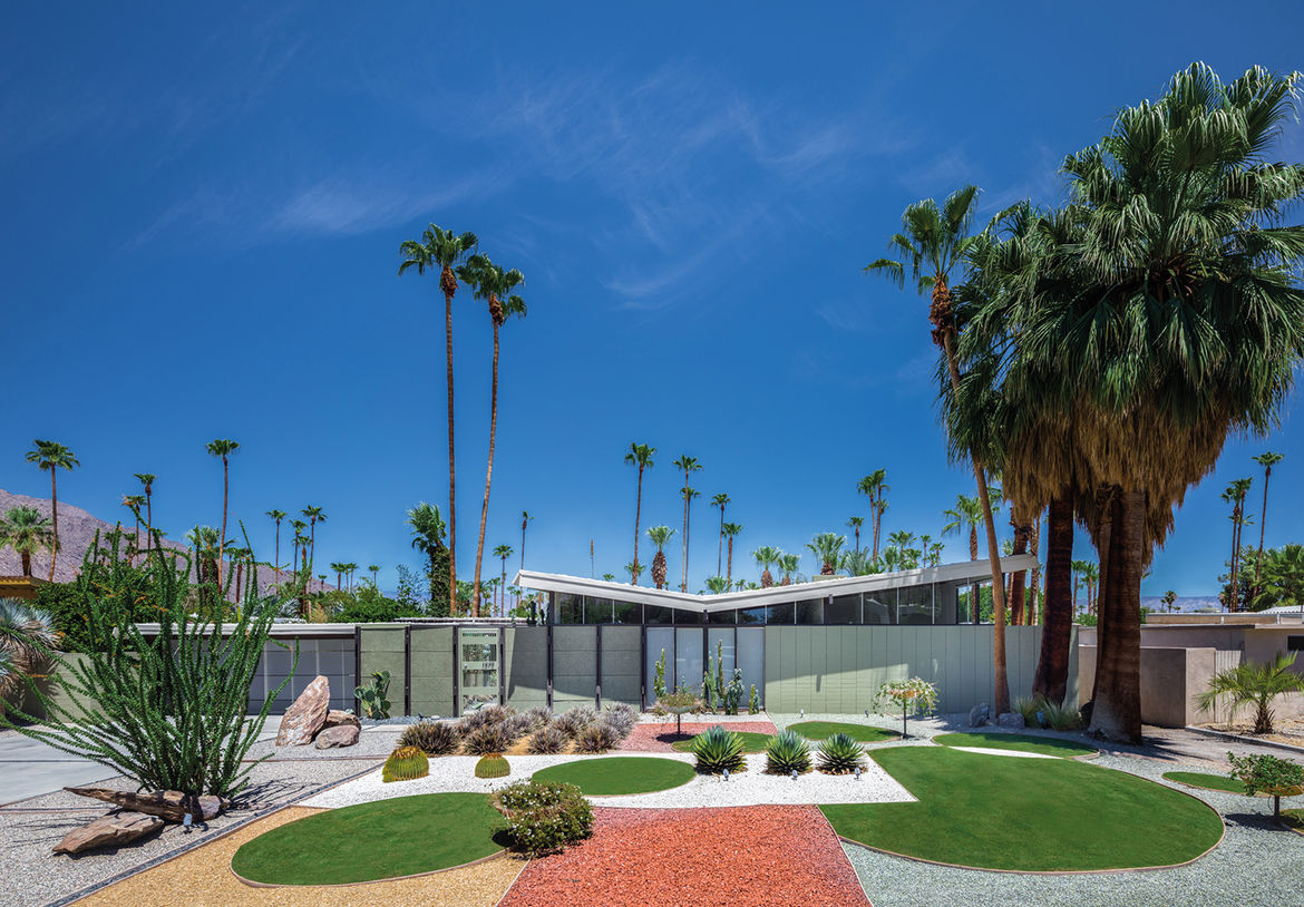 Midcentury house with a geometric landscape design by William Krisel