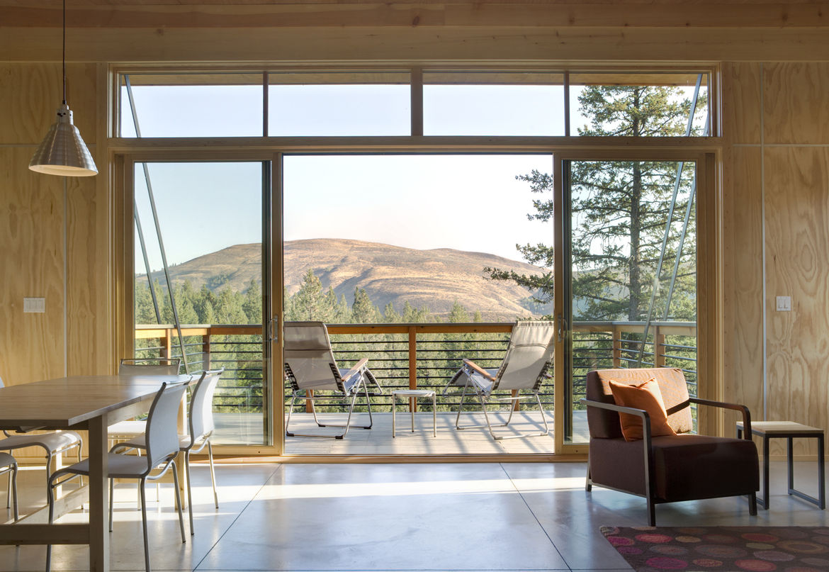 Pine Forest Cabin balcony with view of valley