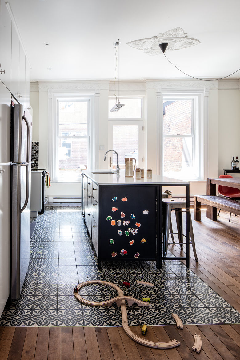 Renovated Montreal kitchen in a heritage house