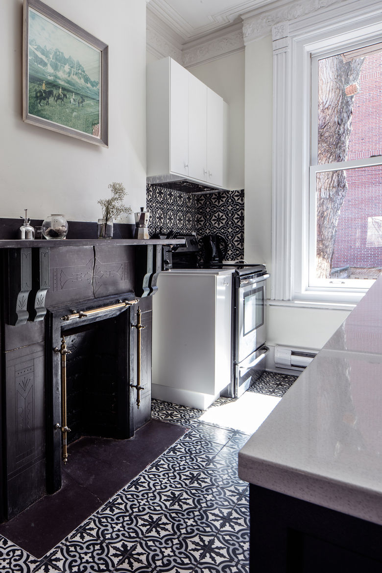 Historic chimney in a renovated Montreal kitchen