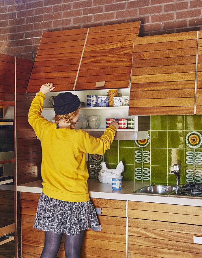 Sliding mahogany kitchen cabinets