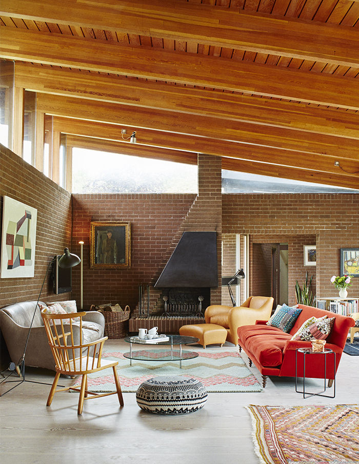 Living room with a sloped ceiling in the English countryside