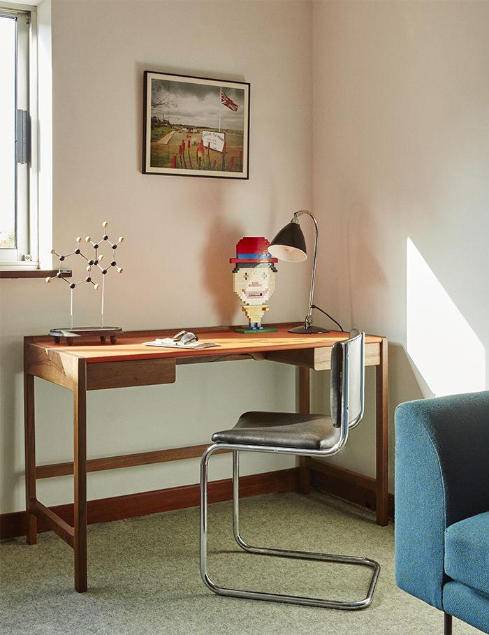Modern wood desk in a study