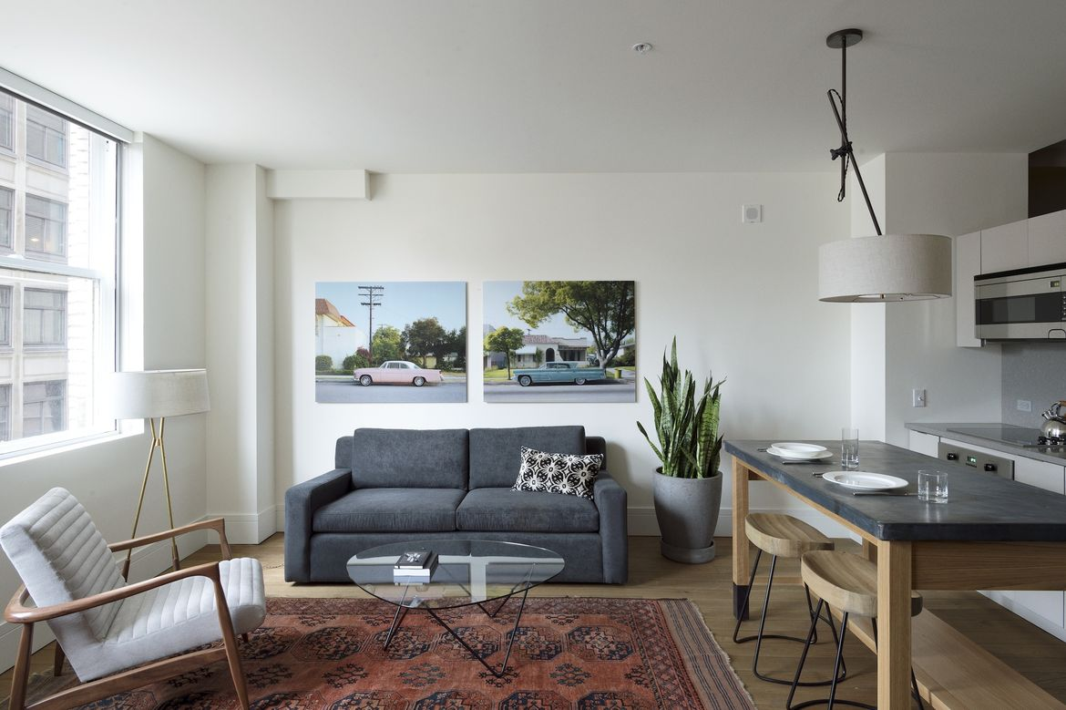 Living room in Philadelphia with old rugs