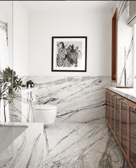 Marble-clad bathroom