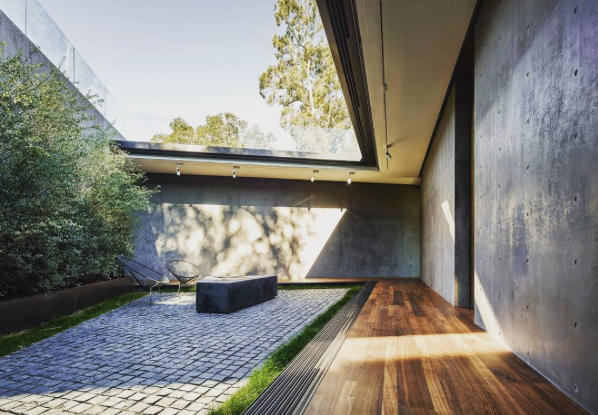 Courtyard at a house designed by Walker Workshop