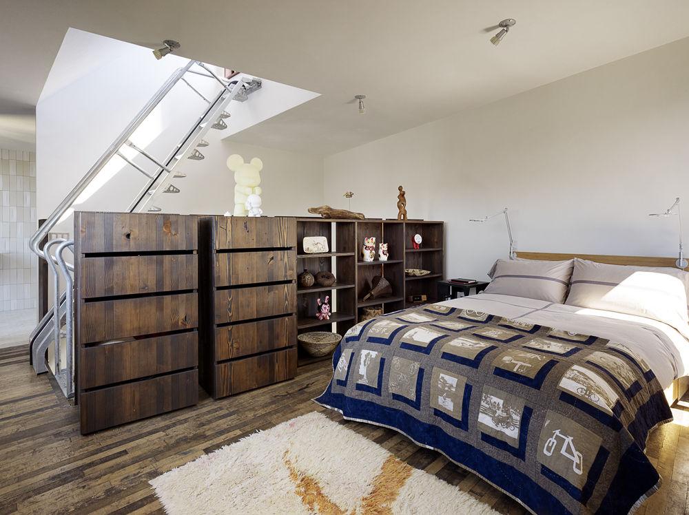 Sleeping loft in a San Francisco net-zero cottage