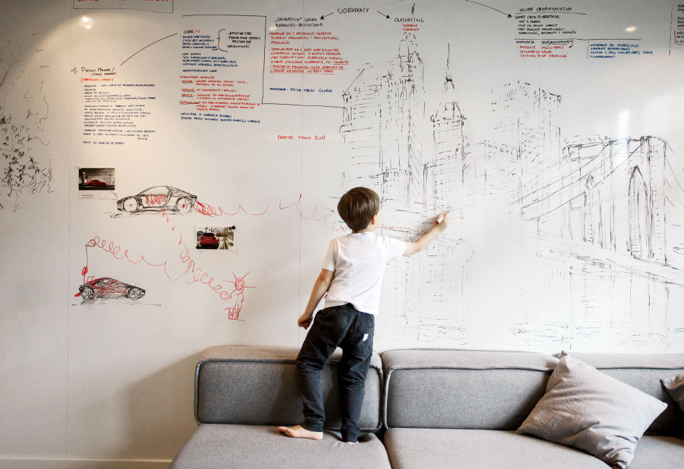 Warsaw apartment dry-erase surface from Formica