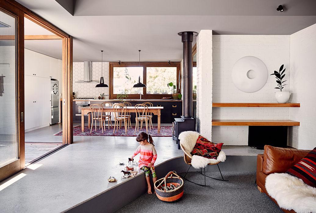 Sunken living room in an Australian vacation home