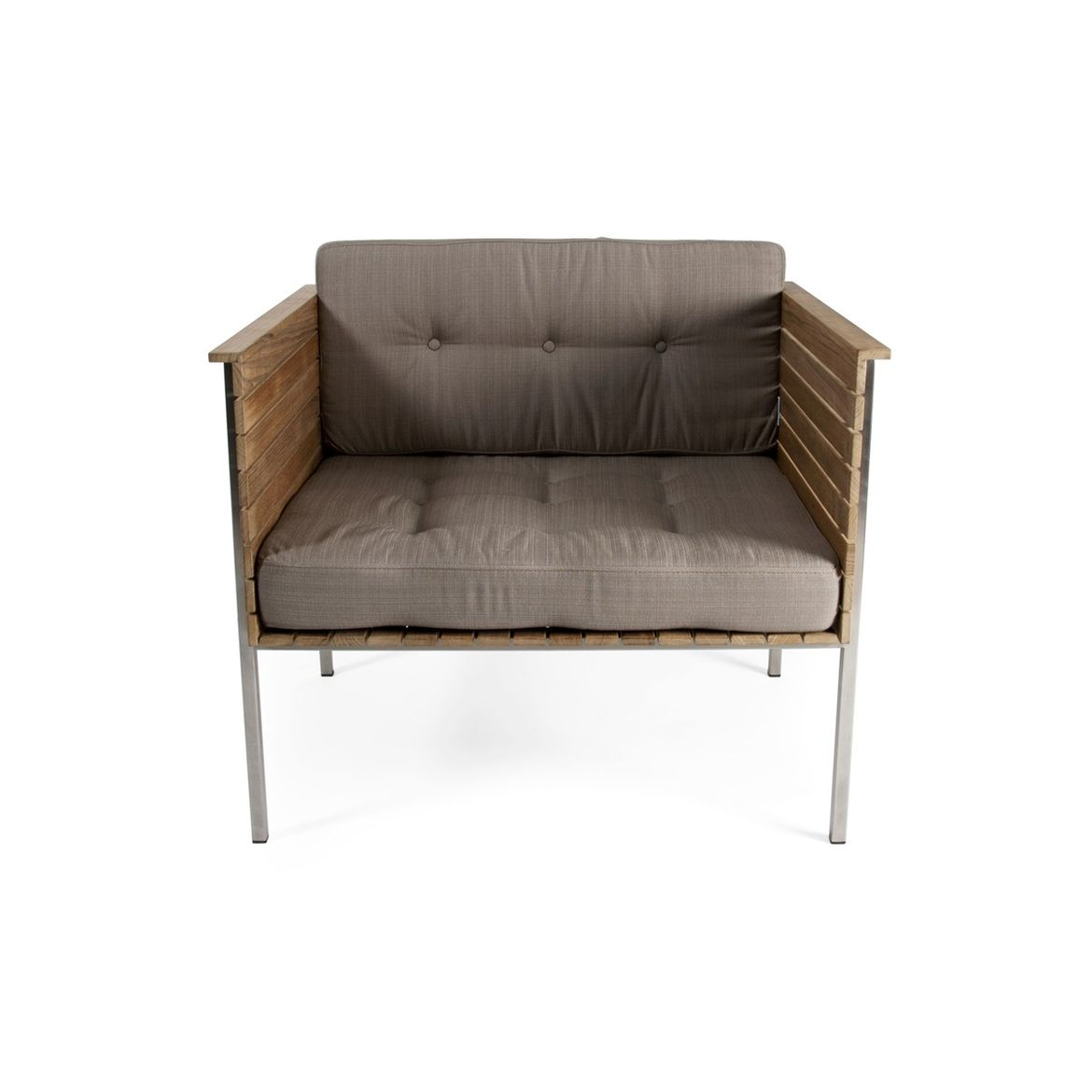 Teak, steel, and fabric lounge chair for indoor and outdoor use
