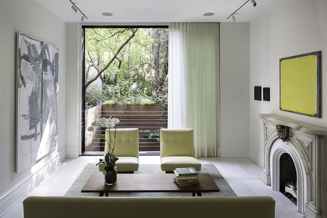 Modern West Village renovation with living room and fireplace