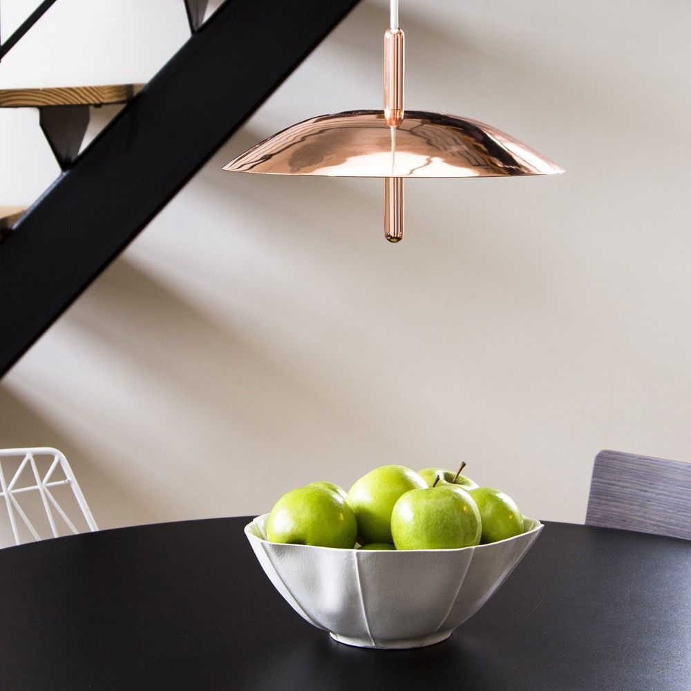Copper-plated pendant light
